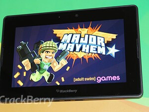 Major Mayhem arrives on the BlackBerry PlayBook and he's got an itchy trigger finger
