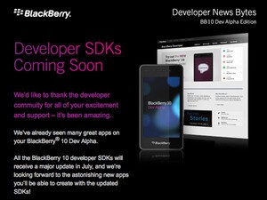 All the BlackBerry 10 developer SDKs will receive a major update in July, two new webcasts happening July 19th