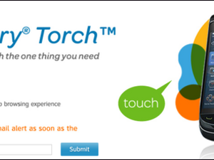 BlackBerry Torch 9800 site goes live on AT&T a little early.