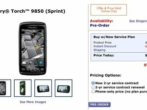Walmart to sell the Sprint BlackBerry Torch 9850 for $99