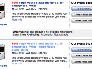 Virgin Mobile launching the BlackBerry Bold 9780 in white