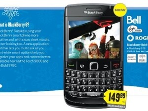 Best Buy ad confirms BlackBerry Bold 9780 pricing for Bell, Rogers and Virgin Mobile