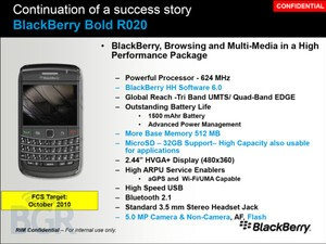 Leaked training slides show off internal overview of  BlackBerry Bold 9780
