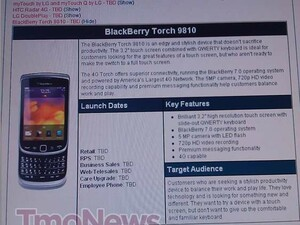 BlackBerry Torch 9810 arrives once again in T-Mobile's internal systems