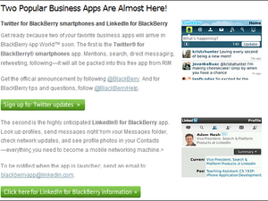 Twitter For BlackBerry And Linked In Apps Coming Soon According To RIM Newsletter