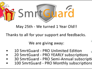 SmrtGuard Celebrates Their Birthday With The Release Of Version 2.52  - Join In On The Celebrations And Win Some Great Prizes