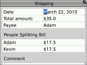 SplitCosts Beta - A New BlackBerry App To Help Making Splitting Costs Easy