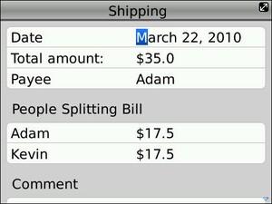 SplitCosts Beta - A New BlackBerry App To Help Making Splitting Costs Easy