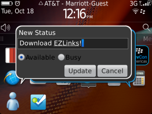 Contest: EZLinks for BBM by Mblware - Update your BBM status or show your barcode with one touch