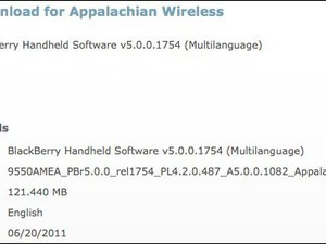 Official OS 5.0.0.1082 for the BlackBerry Storm 2 9550 released by Appalachian Wireless