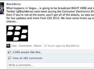RIM hints at announcements for CES 2012 on Facebook