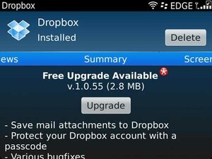 Dropbox for BlackBerry officially updated to v1.0.55
