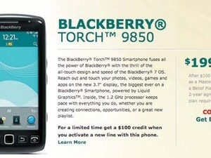 BlackBerry Torch 9850 headed to US Cellular