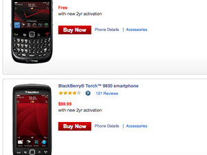 Verizon Wireless offers BlackBerry Torch 9850 for $99 or Curve 3G 9330 for free in 4-Day Websale