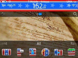 Show your patriotic side with American, a free theme for your BlackBerry