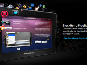 BlackBerry Messenger for the PlayBook screen shot appears on the AppWorld Page