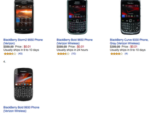 Amazon drops Verizon devices down to only a single penny, BlackBerry devices included