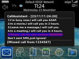 CallAssistant for BlackBerry lets you politely ignore phone calls with a custom reply - Win 1 of 20 copies!