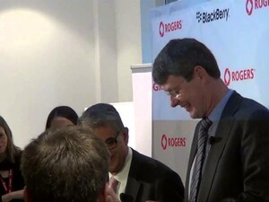 Thorsten Heins and Rogers CEO Nadir Mohamed welcome BlackBerry Z10 to Canada