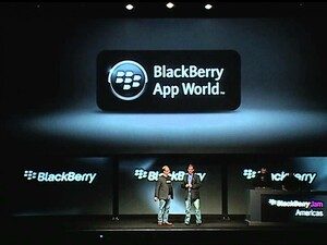 Alec Saunders discusses applications for BlackBerry 10 during the BlackBerry Jam keynote