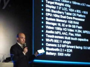 RIM's co-CEO Jim Balsillie shows off the BlackBerry Playbook at GITEX