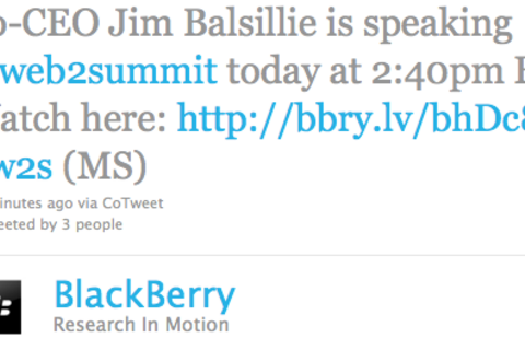 RIM co-CEO Jim Balsillie speaking live at Web 2.0 Summit at 2:40 EST today