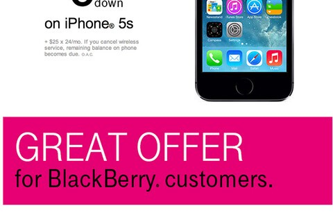 T-Mobile tries to coax BlackBerry users to upgrade to the iPhone 5s in its latest mailer