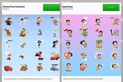 Disney Pixar Collection and Baby Boop stickers arrive in the BBM Shop