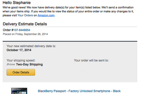 Amazon now sending out delivery estimate updates for Passport orders