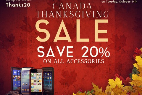 It's Thanksgiving in Canada! Save 20% on all accessories at ShopCrackBerry