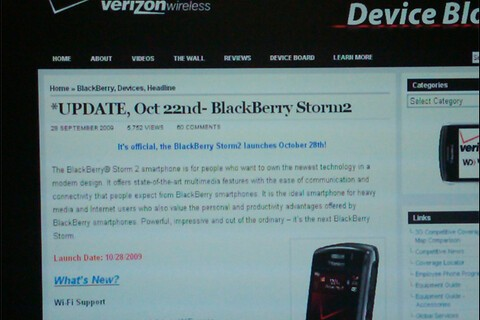 Verizon BlackBerry Storm2 Launching October 28th According to Launch .pdf and Updated Intranet Blog Post