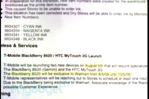 Want to Buy a T-Mobile BlackBerry Curve 8520? It Looks Like Walmart Will Have it on August 5th Exclusively!