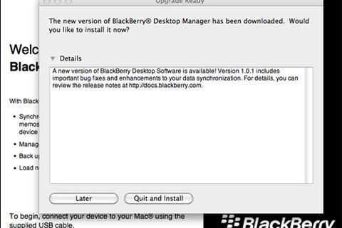 BlackBerry Desktop Manager for Mac Updated to v1.0.1