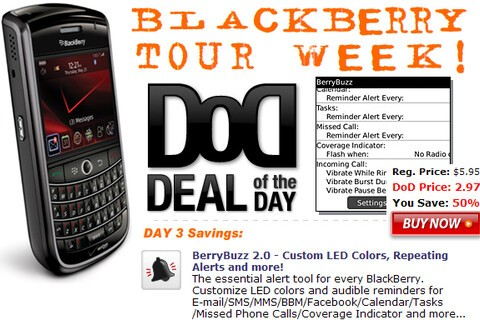 Deal of the Day: BlackBerry Tour Week! Day 3 Special: Get BerryBuzz 2.0 for $2.97 - 50% Off!
