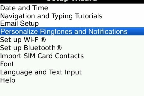My Wish for BlackBerry Santa: Add Personalize Ringtones and Notifications to the Setup Wizard.