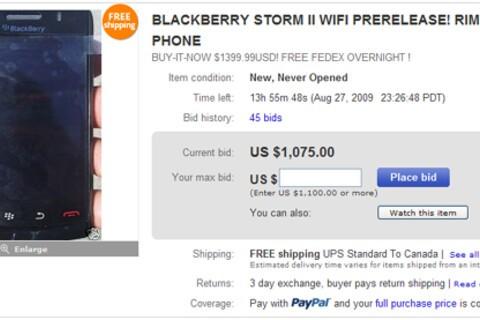 BlackBerry Storm II's Popping Up on Ebay