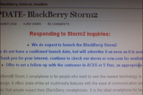 Verizon's Intranet BlackBerry Storm2 Blog Post Updated: No Confirmed Launch Date At This Time?!