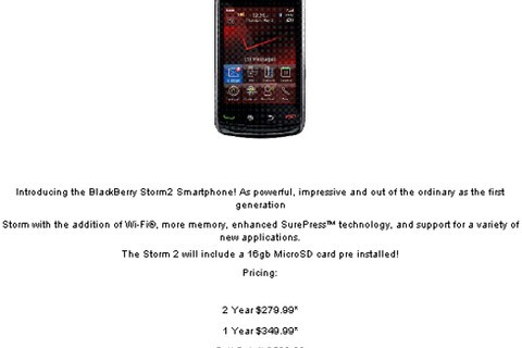 Unofficial Verizon BlackBerry Storm2 Pricing