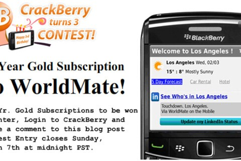 CrackBerry Turns 3 Contest: Five 1-Year WorldMate Gold for BlackBerry Subscriptions up for Grabs!