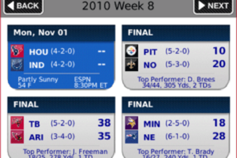 NFL.com Game Center 2010 for BlackBerry now available