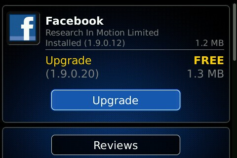 Facebook 1.9.0.20 now available in BlackBerry App World