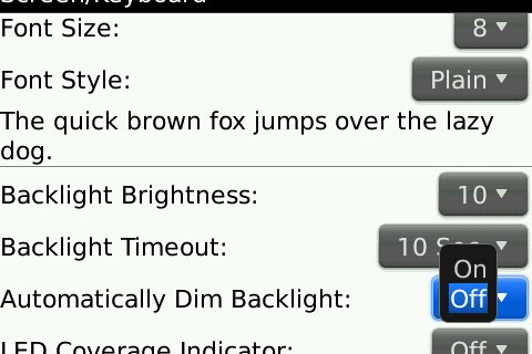 How Do You Use Your BlackBerry Series: Automatically Dim Backlight On or Off?