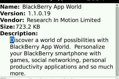 BlackBerry App World Updated to Version 1.1.0.19