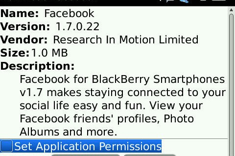 Facebook for BlackBerry Updated to 1.7.0.22