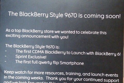 BlackBerry Style 9670 promo materials arriving in Sprint stores