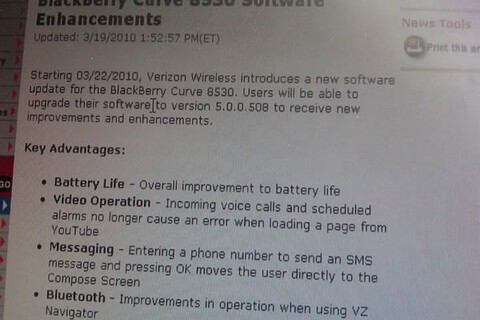 Official Verizon BlackBerry Curve 8530 Update Coming on Monday?