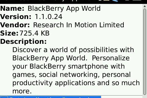 BlackBerry App World Updated to 1.1.0.24