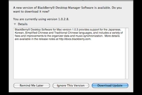 BlackBerry Desktop Manager for Mac Updated to v1.0.3