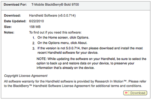 Official OS 5.0.0.714 for the BlackBerry Bold 9700 now available from T-Mobile