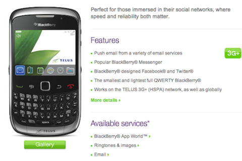 BlackBerry Curve 3G (9300) now available from Telus